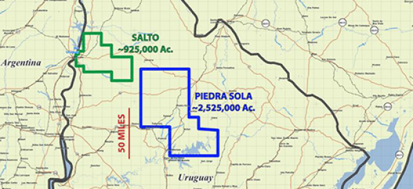 Piedra Sola & Salto Concessions in Uruguay (Source: Petrel Energy Ltd.)